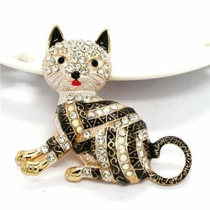 3D Cat Rhinestone Cat Brooch Pendant NWT